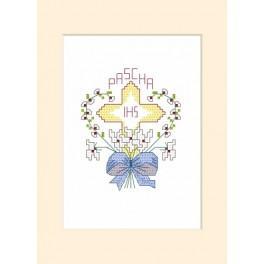 Wzór graficzny - Kartka wielkanocna - Krzyż w sercu - Haft krzyżykowy