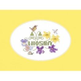 Wzór graficzny - Kartka - Wiosna - Haft krzyżykowy