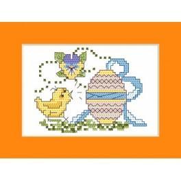 Wzór graficzny - Kartka wielkanocna - Kurczak z pisanką - Haft krzyżykowy