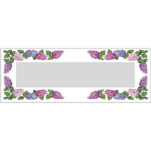 Wzór graficzny - Bieżnik z kolorowym bzem - Haft krzyżykowy