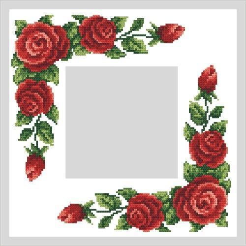 Wzór graficzny - Serwetka z czerwonymi różami - B. Sikora - Haft krzyżykowy