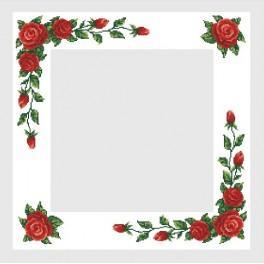 Wzór graficzny - Obrus z czerwonymi różami - B. Sikora - Haft krzyżykowy