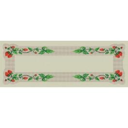 Wzór graficzny - Bieżnik z truskawkami - Haft krzyżykowy