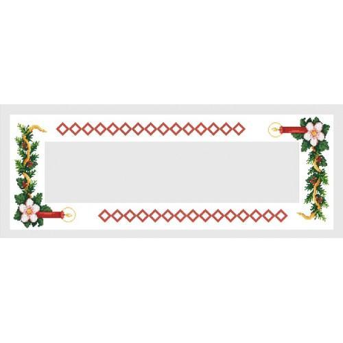 Wzór graficzny - Bieżnik z czerwoną świecą - Haft krzyżykowy