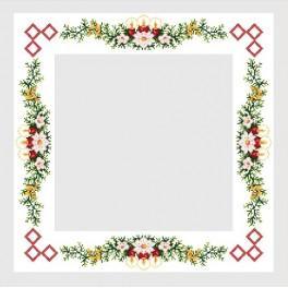 Wzór graficzny - Obrus z czerwonymi świecami - Haft krzyżykowy