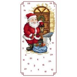 Wzór graficzny - Kalendarz Adwentowy - Mikołaj z prezentami - Haft krzyżykowy