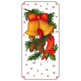 Wzór graficzny - Kalendarz Adwentowy - Dzwoneczki - Haft krzyżykowy