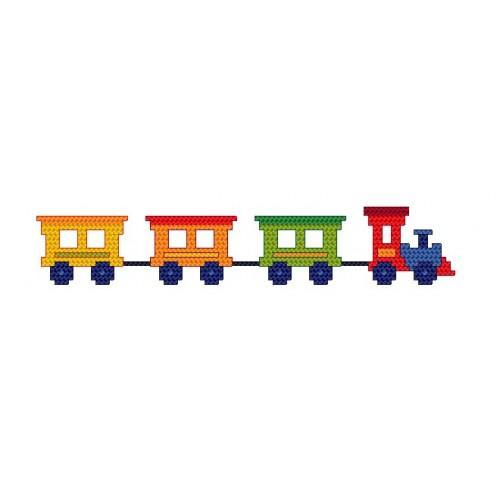 Wzór graficzny - śliniak z pociągiem - Haft krzyżykowy