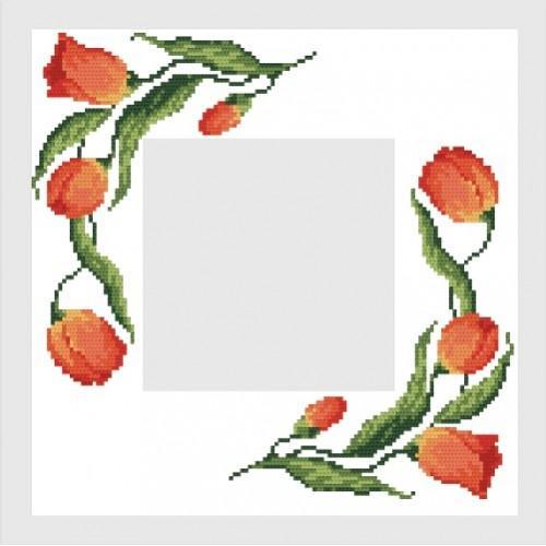 Wzór graficzny - Serwetka z tulipanami - Haft krzyżykowy