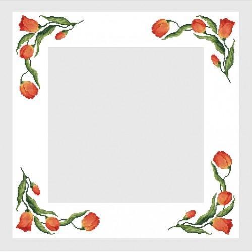 Wzór graficzny - Obrus z tulipanami - B. Sikora-Małyjurek - Haft krzyżykowy