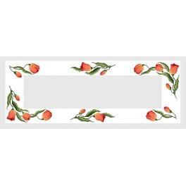 Wzór graficzny - Bieżnik z tulipanami - B. Sikora-Małyjurek - Haft krzyżykowy
