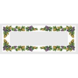 Wzór graficzny - Bieżnik z winogronami - B. Sikora-Małyjurek - Haft krzyżykowy