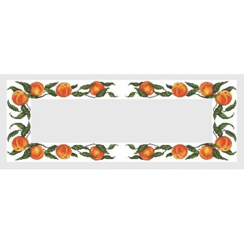 Wzór graficzny - Bieżnik z brzoskwiniami - B. Sikora-Małyjurek - Haft krzyżykowy