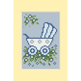 Wzór graficzny - Dzień narodzin - wózek niebieski - Haft krzyżykowy