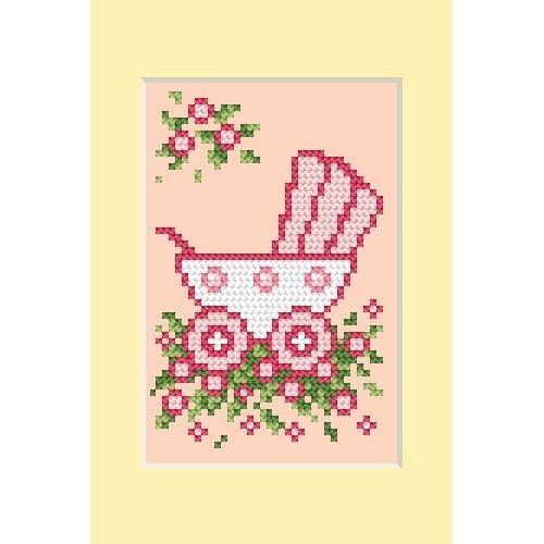 Wzór graficzny - Dzień narodzin - wózek różowy - Haft krzyżykowy