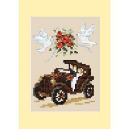 GU 4459-01 Wzór graficzny - Kartka ślubna - Automobil - B. Sikora - Haft krzyżykowy