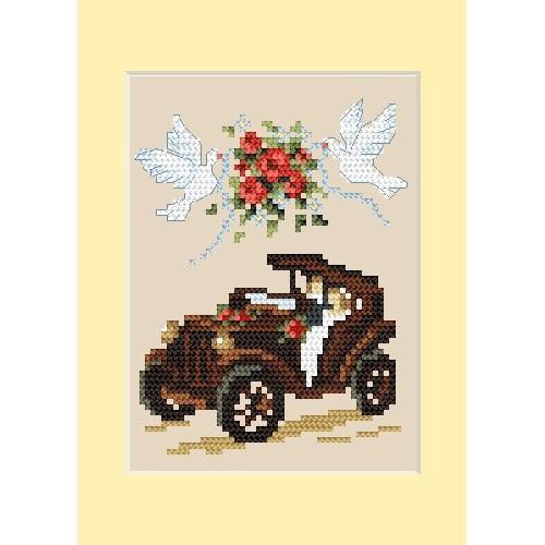 Wzór graficzny - Kartka ślubna - Automobil - B. Sikora - Haft krzyżykowy