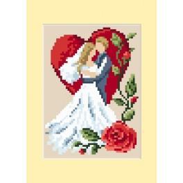GU 4459-02 Wzór graficzny - Kartka ślubna - Zakochani - B. Sikora - Haft krzyżykowy