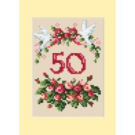 GU 4460-01 Wzór graficzny - Kartka rocznicowa - Różyczki - B. Sikora - Haft krzyżykowy