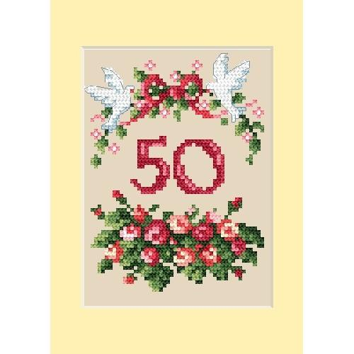 Wzór graficzny - Kartka rocznicowa - Różyczki - B. Sikora - Haft krzyżykowy