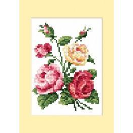 Wzór graficzny - Kartka urodzinowa - Barwne róże - B. Sikora - Haft krzyżykowy