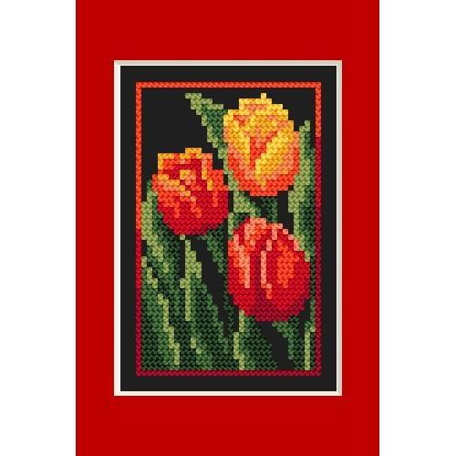 Wzór graficzny - Kartka urodzinowa - Tulipany - B. Sikora - Haft krzyżykowy