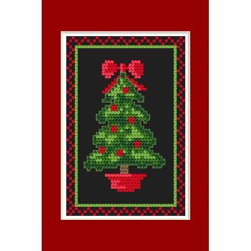 Wzór graficzny - Kartka świąteczna- Błyszcząca choinka - B. Sikora - Haft krzyżykowy