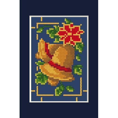 Wzór graficzny - Kartka świąteczna- Błyszczące dzwoneczki B. Sikora - Haft krzyżykowy