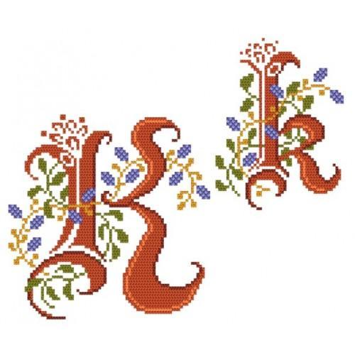Wzór graficzny - Monogram K - B. Sikora-Małyjurek - Haft krzyżykowy
