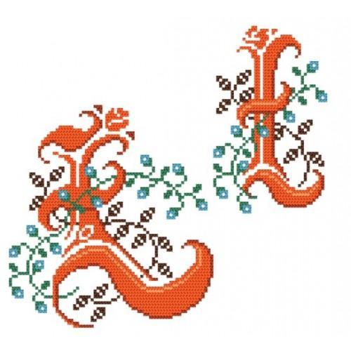 Wzór graficzny - Monogram Ł - B. Sikora-Małyjurek - Haft krzyżykowy