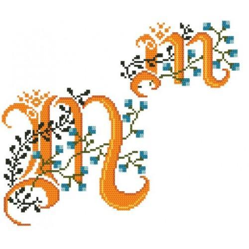 Wzór graficzny - Monogram M - B. Sikora-Małyjurek - Haft krzyżykowy