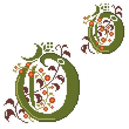 Wzór graficzny - Monogram O - B. Sikora-Małyjurek - Haft krzyżykowy