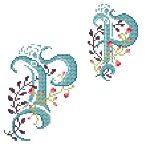 Wzór graficzny - Monogram P - B. Sikora-Małyjurek - Haft krzyżykowy