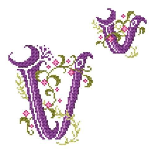 Wzór graficzny - Monogram V - Haft krzyżykowy