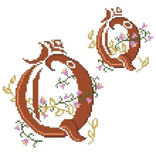 Wzór graficzny - Monogram Q - Haft krzyżykowy
