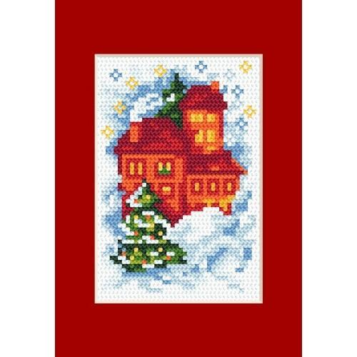 Wzór graficzny - Kartka świąteczna- Domki - B. Sikora-Małyjurek - Haft krzyżykowy