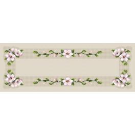 Wzór graficzny - Bieżnik z kwitnącą wiśnią - B. Sikora - Haft krzyżykowy