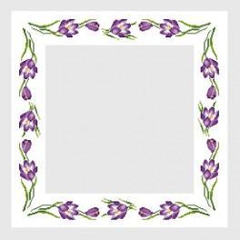 Wzór graficzny - Obrus z krokusami - Haft krzyżykowy