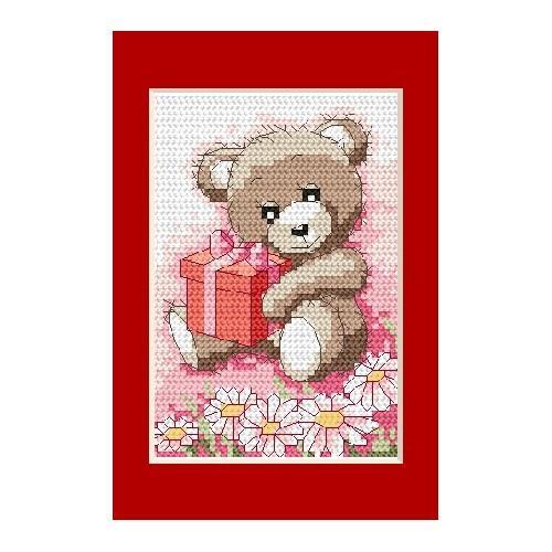 Wzór graficzny - Kartka urodzinowa - Misiek z prezencikiem - Haft krzyżykowy