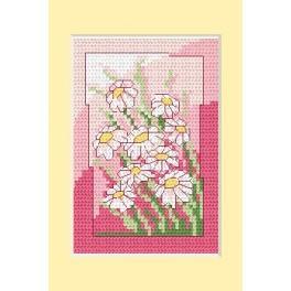 Wzór graficzny - Kartka urodzinowa - Białe kwiaty - Haft krzyżykowy