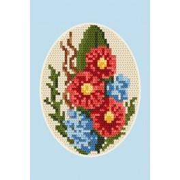 Wzór graficzny - Kartka okolicznościowa- Kwiaty - Haft krzyżykowy