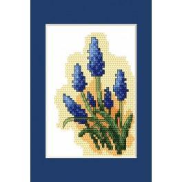 Wzór graficzny - Kartki wielkanocne- Szafirki - Haft krzyżykowy