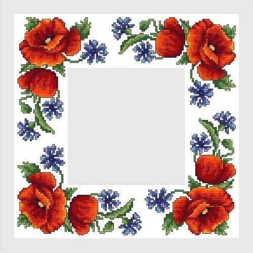 Wzór graficzny - Serwetka z polnymi kwiatami - Haft krzyżykowy