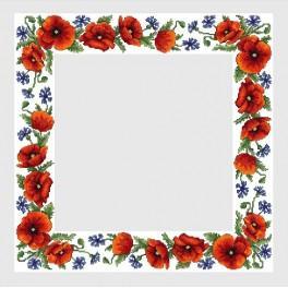 Wzór graficzny - Obrus z polnymi kwiatami - Haft krzyżykowy