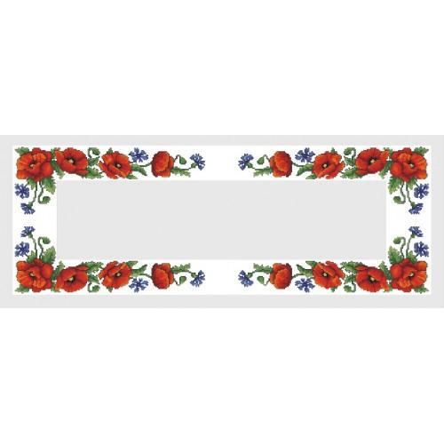 Wzór graficzny - Bieżnik z polnymi kwiatami - Haft krzyżykowy