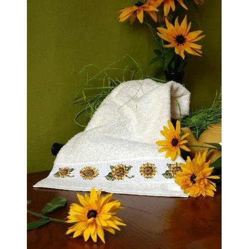 Wzór graficzny - Ręcznik ze słonecznikami - Haft krzyżykowy