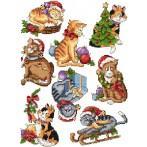 Wzór graficzny - świąteczne kociaki - Haft krzyżykowy