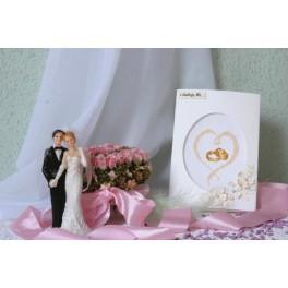 GU 4869-01 Wzór graficzny - Kartka ślubna - Obrączki - Haft krzyżykowy