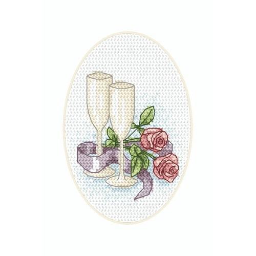 Wzór graficzny - Kartka ślubna - Kieliszki - Haft krzyżykowy