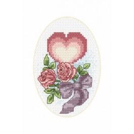 Wzór graficzny - Kartka ślubna - Serduszko - Haft krzyżykowy